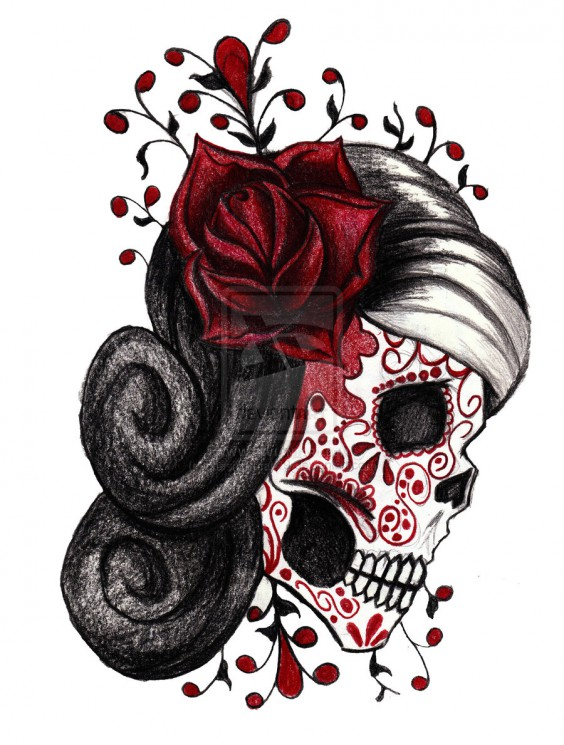 Red Roses And Sugar Skull Tattoo Design