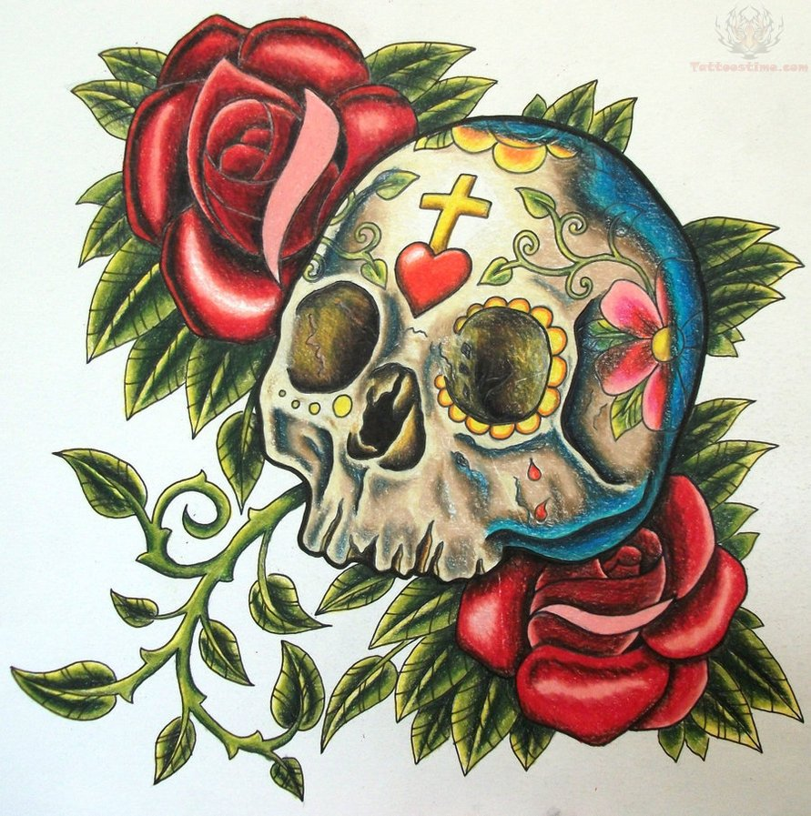 red roses and sugar skull tattoo design photo 3