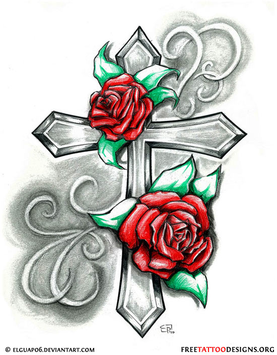 Red Roses Heart Tattoo Design With Blue Banner