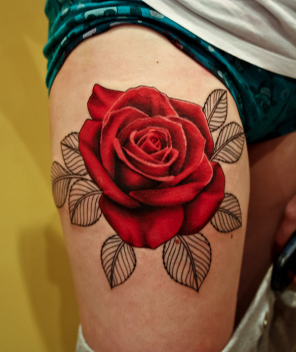Red Roses On Thigh Tattoos