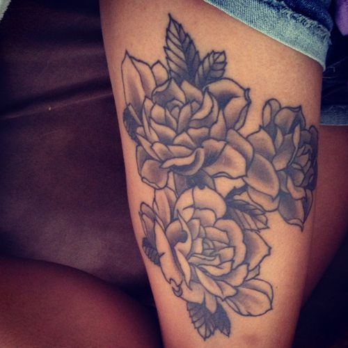 Red Roses Right Thigh Tattoos For Girls