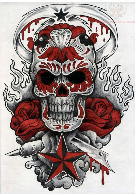 Red Skull Tattoo Design