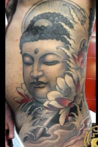 Religious Buddha Tattoo On Rib Side