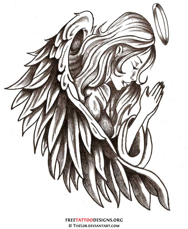 Religious Cross And Sword With Angel Wings Tattoo Design