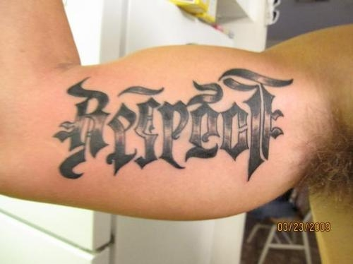 Respect Tattoo On Biceps