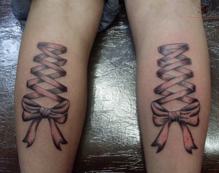 Ribbon Bow Tattoos On Back Of Thighs
