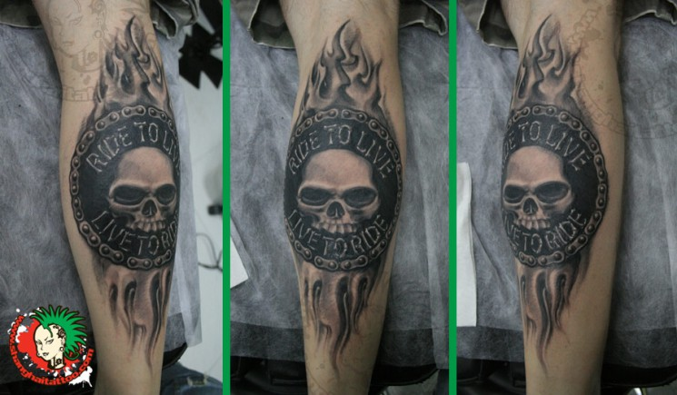Ride To Live – Skull Tattoo