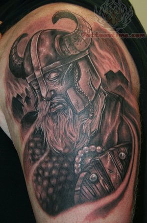 Right Back Shoulder Viking Tattoo