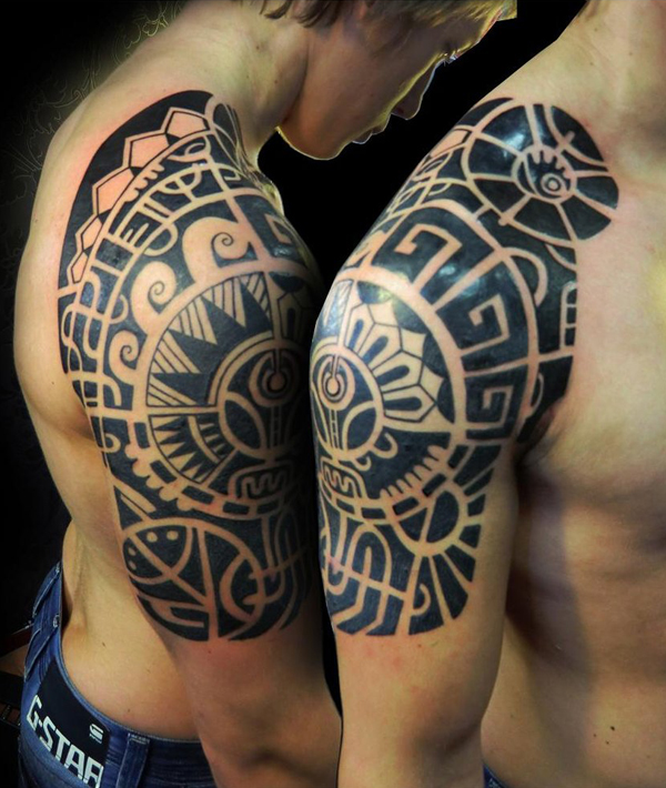 Right Half Sleeve Maori Tribal Tattoos