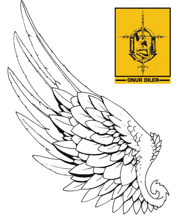 Right Leg Wing Tattoo Design