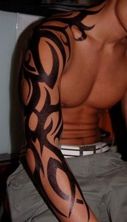 Right Sleeve Black Ink Tribal Tattoos