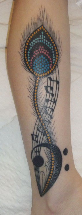 Right Thigh Feather And Music Note Tattoos