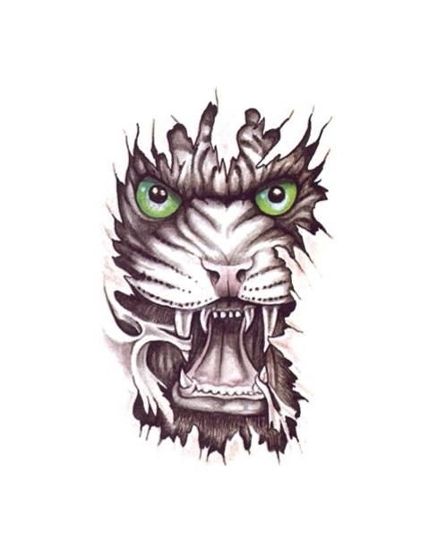 Ripped Skin Angry Tiger Face Tattoo