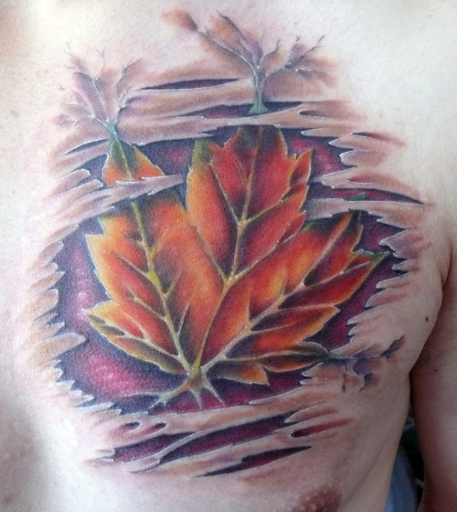 Ripped Skin Maple Leaf Tattoo On Chest