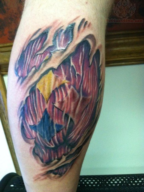 Ripped Skin Muscles Tattoo On Calf