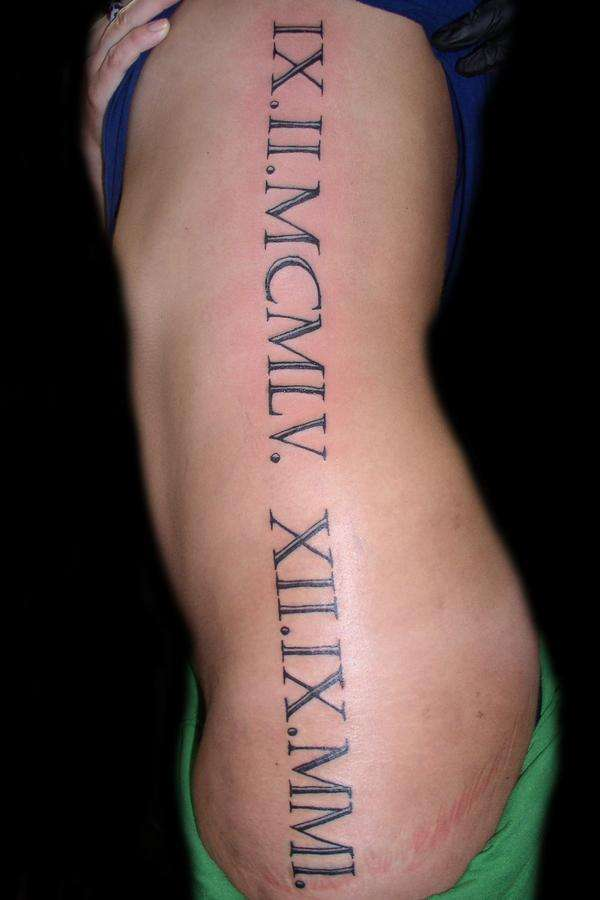 roman numeral lettering tattoo designs on back in 2017 real photo pictures images and. Black Bedroom Furniture Sets. Home Design Ideas