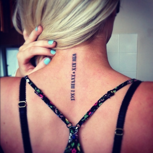 Roman Numerals Back Neck Tattoos