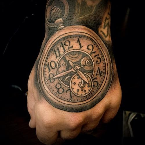 Roman Numerals Gears And Clock Tattoos For Men