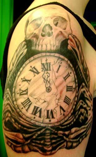 Roman Numerals Gears And Clock Tattoos On Arm