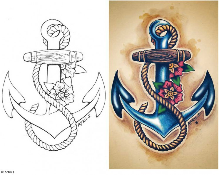 Rope Anchor With Heart Bow Tattoo