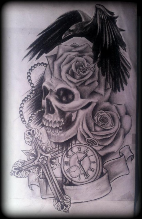 Rose And Crow On Cross Tattoo Design