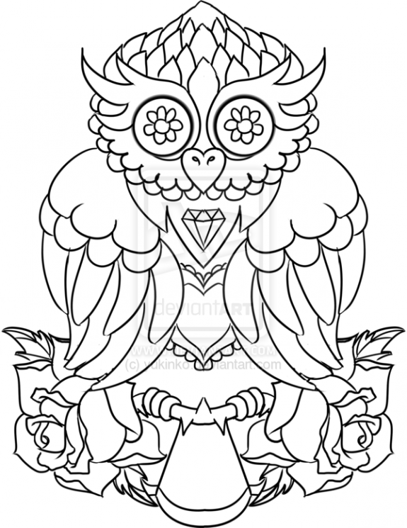 Rose And Owl Tattoos Sketch