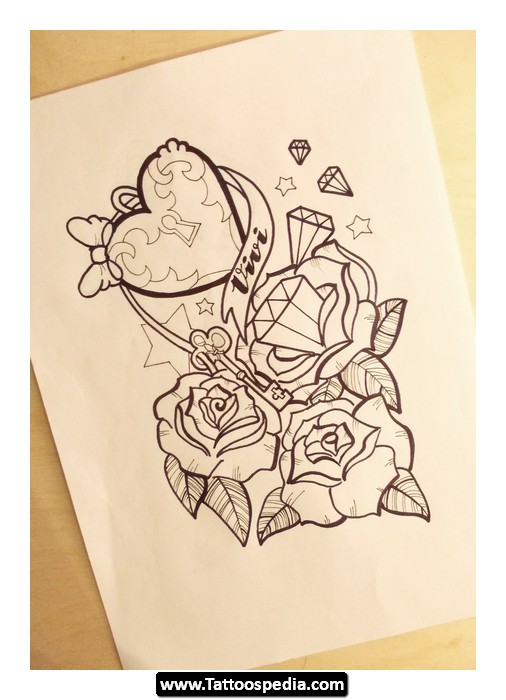 Rose And Purple Bow Tattoos
