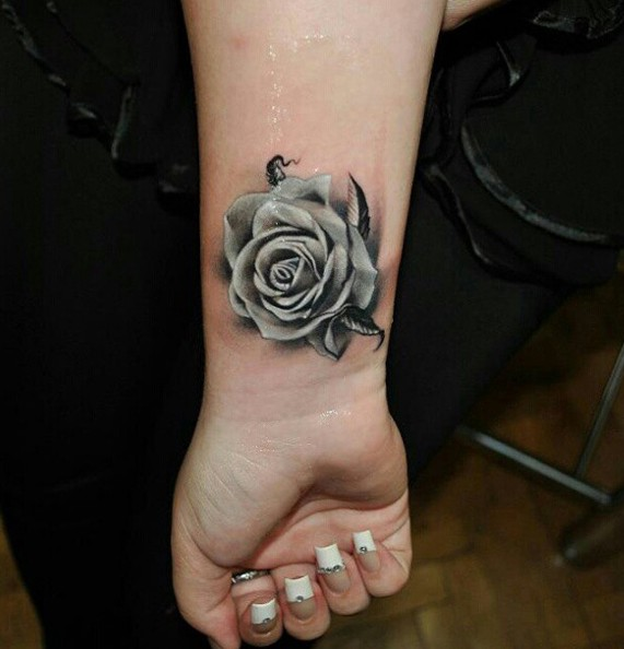 Rose And Rosary Tattoos On Wrist