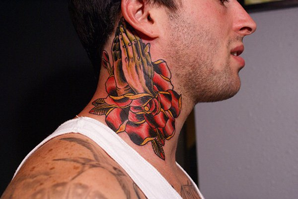 Rose And Tiger Tattoos On Full Neck