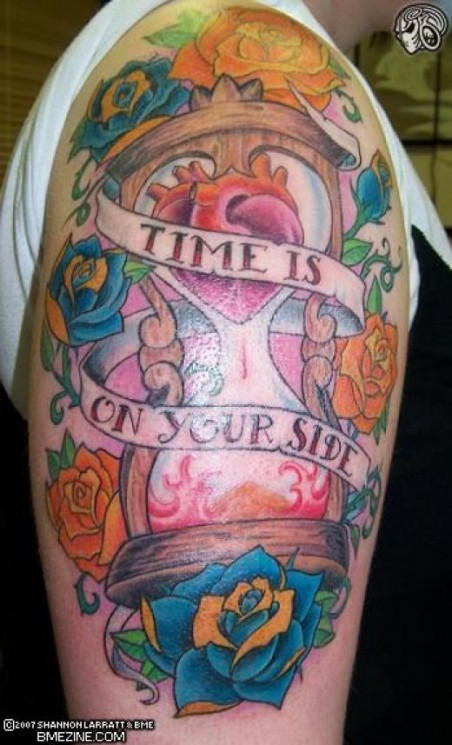 Rose Banner And Hour Glass Tattoos