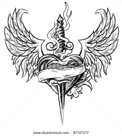 Rose Dagger Tattoo Design