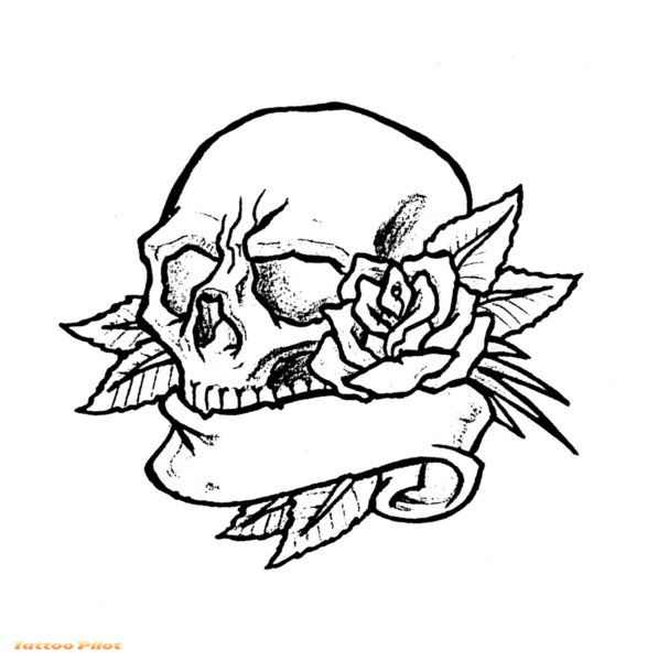 Rose Dagger n Skull Tattoo Design