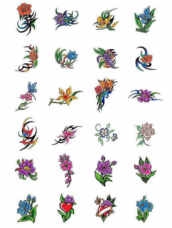 Rose Daisy n Lily Tattoo Designs