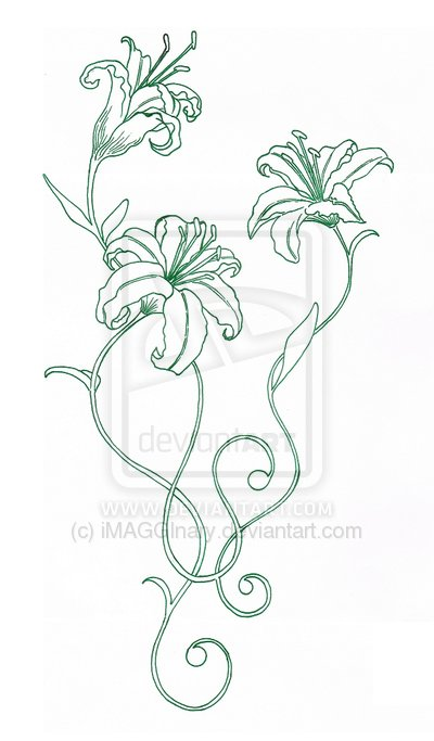 Rose Lily Tattoo Sample