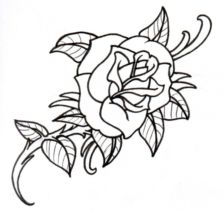 Rose Outline Tattoo Design