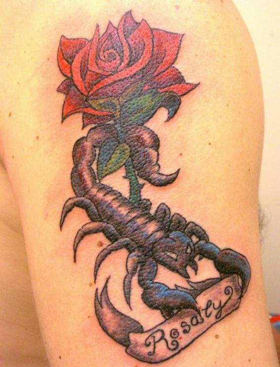 Rose Scorpion And Banner Tattoos On Arm