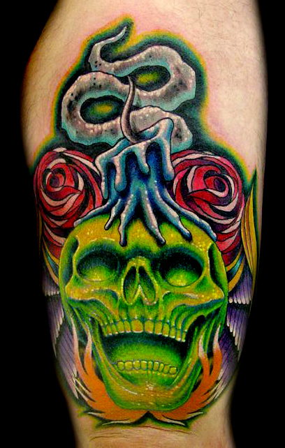 Skull Candle Bat & More Tattoo Designs