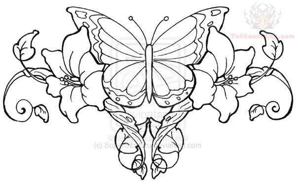 Rose Vines Tattoo Stencil For Lower Back
