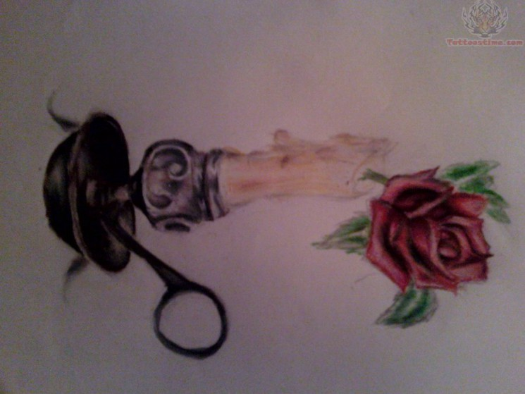 Rose With Candle Tattoo Image