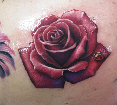 Rose With Lady Bug Tattoo Design
