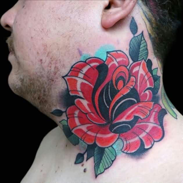 Rose With Leaves Back Neck Tattoo