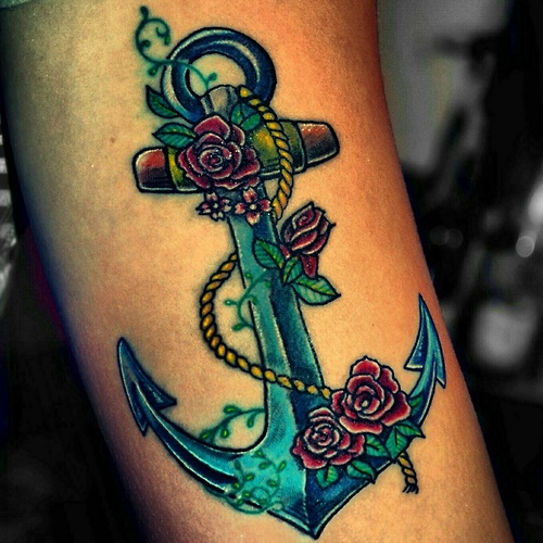 Roses Anchor And Rope Tattoos