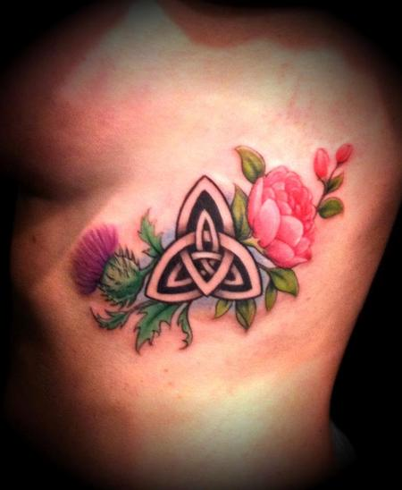 Roses And Celtic Knots Tattoo On Back Of Body