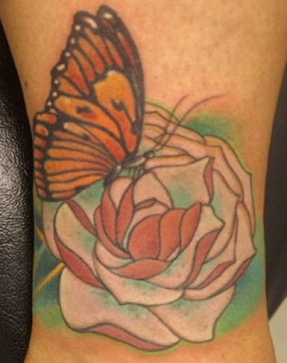 Roses And Hour Glass Tattoos