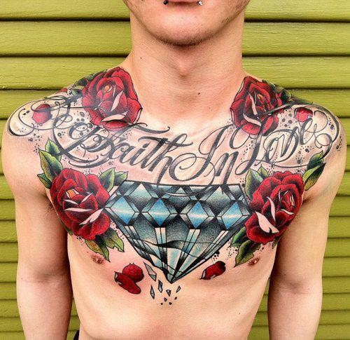Roses And Large Broken Diamond Tattoos On Chest