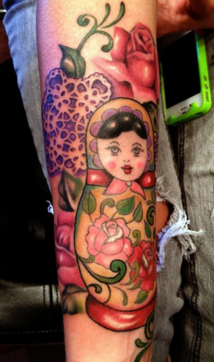 Roses And Matryoshka Tattoo For Arm