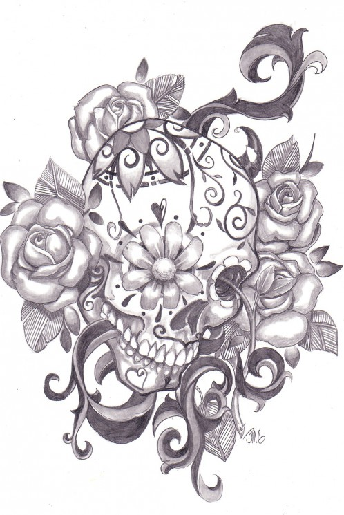 Roses And Mexican Sugar Skull Tattoo On Back Body