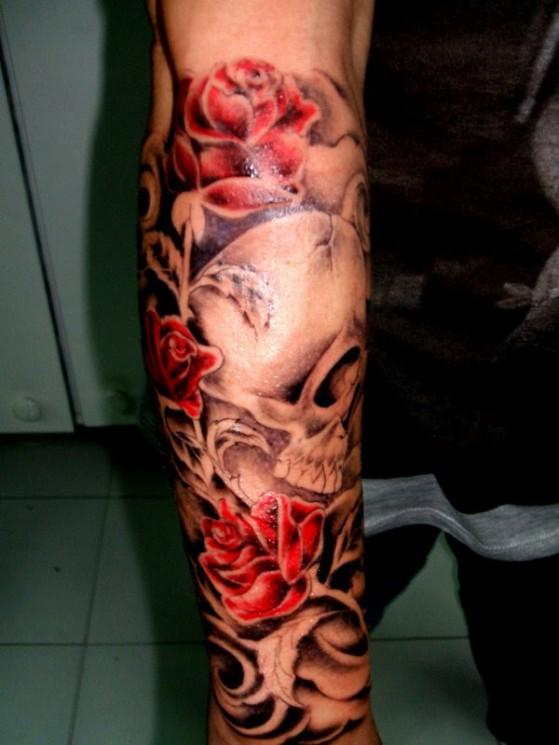 Roses And Skull Forearm Tattoos