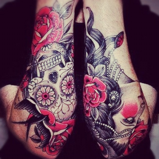 Roses And Skull Sleeve Tattoos Fashion For Girls