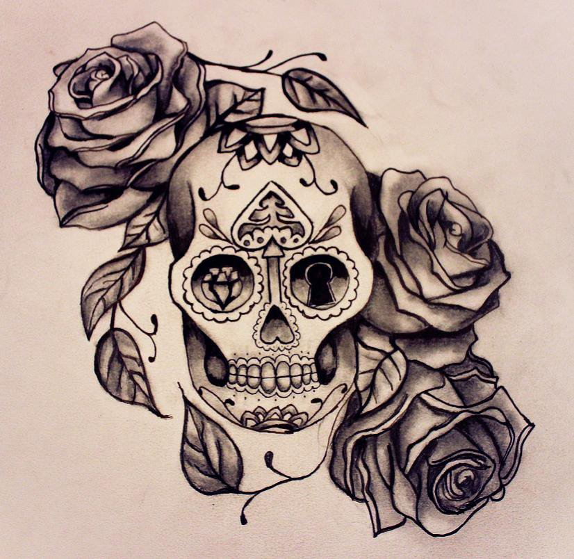 roses birds and sugar skull tattoo designs photo 4